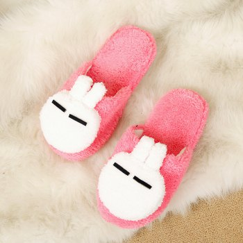 Fashion Home Interior Winter Cartoon Rabbit Warm Slippers - RED RED