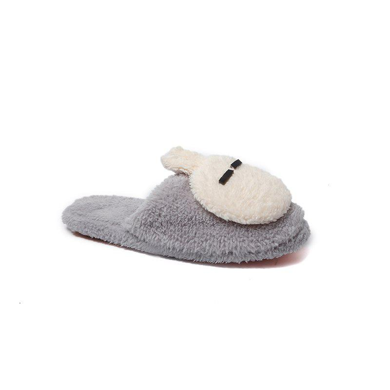 Fashion Home Interior Winter Cartoon Rabbit Warm Slippers - GRAY 38