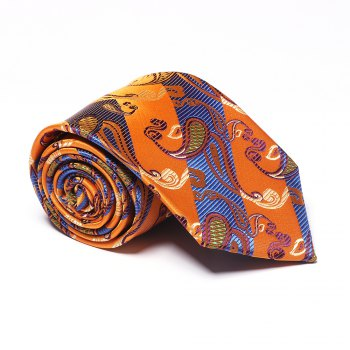 Yellow Blue Cashew Pattern Jacquard Necktie Party Business Formal Men's Tie - YELLOW BLUE YELLOW BLUE
