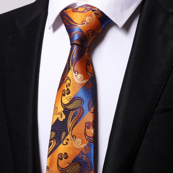 Yellow Blue Cashew Pattern Jacquard Necktie Party Business Formal Men's Tie -  YELLOW BLUE