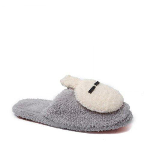 New Cute Soft Bottom Anti Slip Home Cotton Slippers - GRAY 37