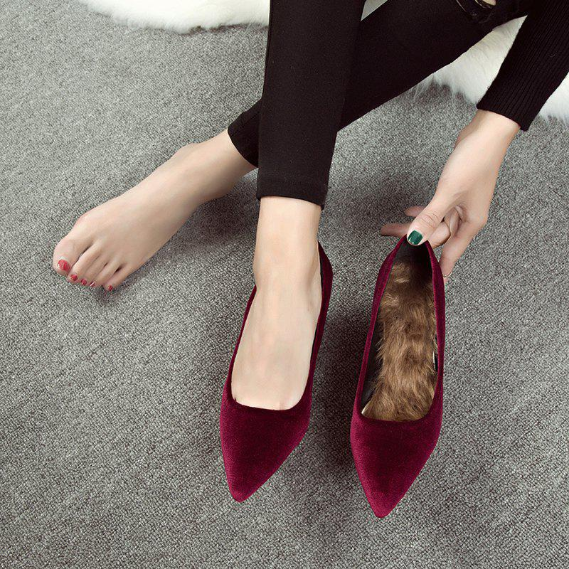 Fall and Winter New Velvet Pointed High Heels - RED 37