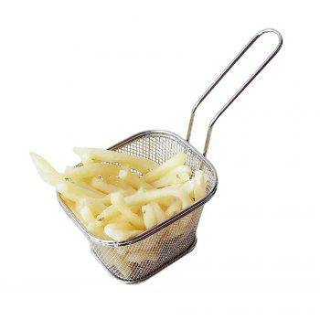 Mini Square Stainless Steel 8 Fry Basket Present Fried Food Table Serving Frying Basket  for French - SILVER SILVER