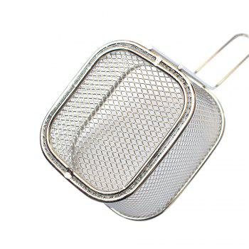 Mini Square Stainless Steel 8 Fry Basket Present Fried Food Table Serving Frying Basket  for French - SILVER