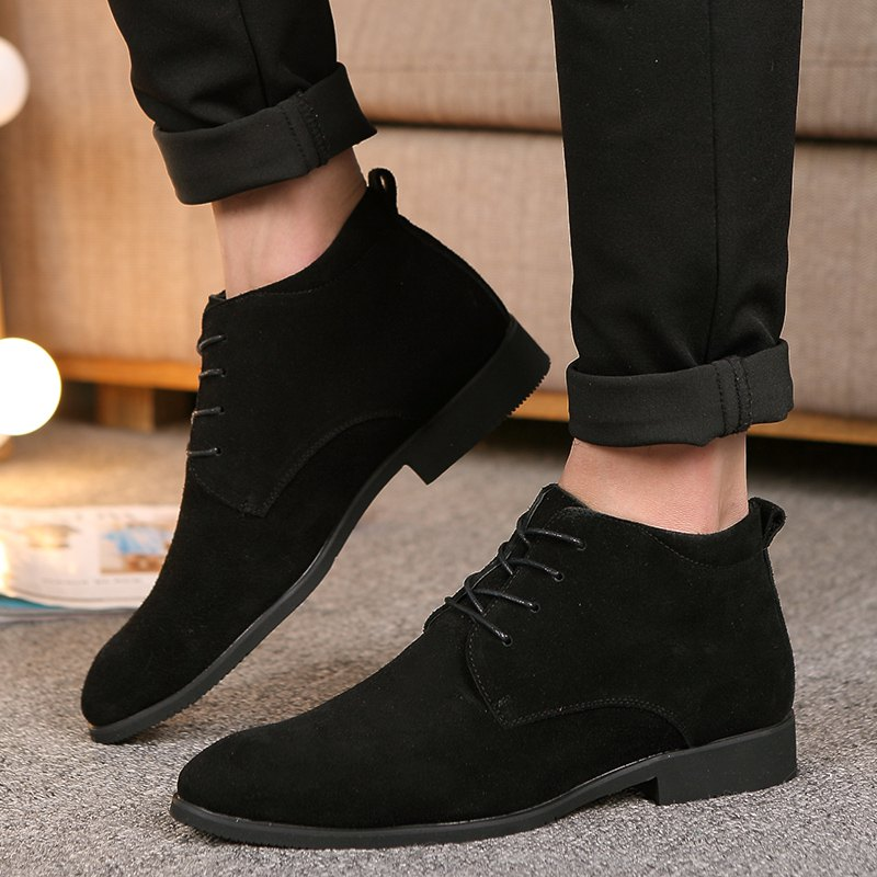 Fashion Genuine Leather Men Shoes Lace Up Formal Casual Business Wedding Boots - BLACK 44