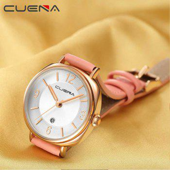 CUENA 6640P Fashion Genuine Leather Watchband Waterproof Women Quartz Watch - PINK