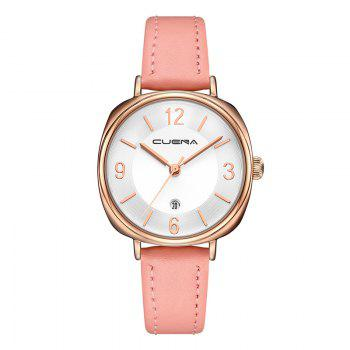 CUENA 6640P Fashion Genuine Leather Watchband Waterproof Women Quartz Watch - PINK PINK