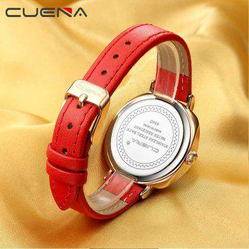 CUENA 6640P Fashion Genuine Leather Watchband Waterproof Women Quartz Watch - RED