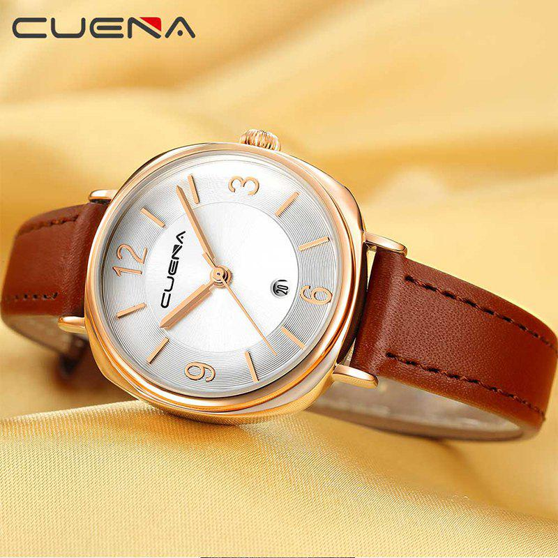 CUENA 6640P Fashion Genuine Leather Watchband Waterproof Women Quartz Watch - BROWN