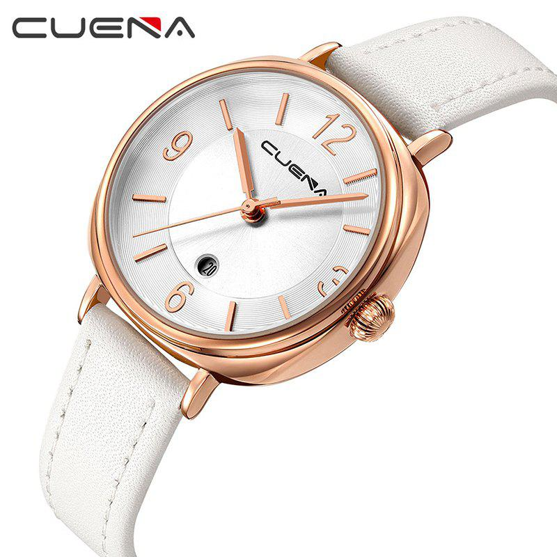 CUENA 6640P Fashion Genuine Leather Watchband Waterproof Women Quartz Watch - WHITE