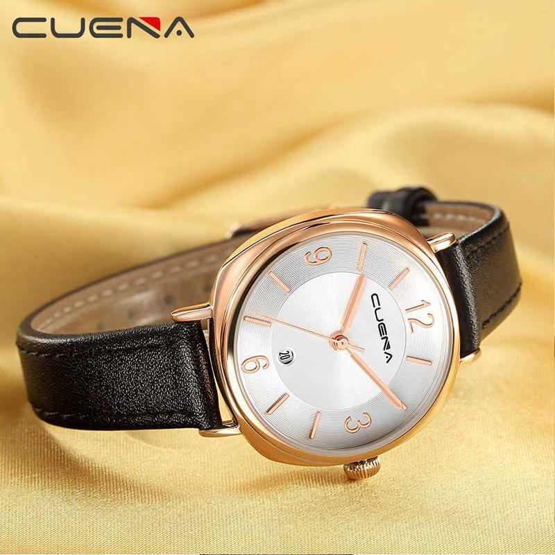 CUENA 6640P Fashion Genuine Leather Watchband Waterproof Women Quartz Watch - BLACK