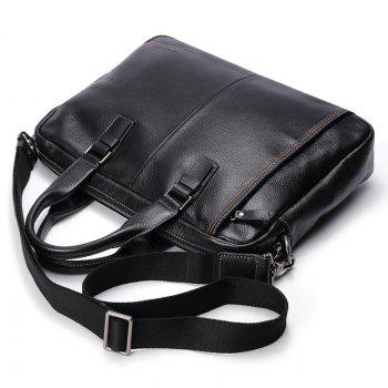 HAUT TON Men Genuine Leather 14 inch Laptop Briefcase Clutch Handbag Messenger Shoulder Bag - BLACK 38X8X28CM