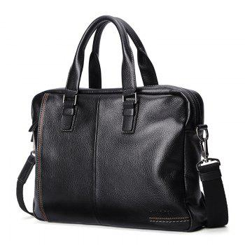 HAUT TON Men Genuine Leather 14 inch Laptop Briefcase Clutch Handbag Messenger Shoulder Bag