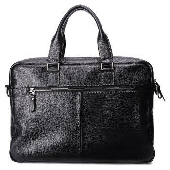 HAUT TON Men Genuine Leather 14 inch Laptop Briefcase Clutch Handbag Messenger Shoulder Bag - BLACK