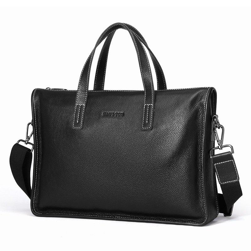HAUT TON 14 Inch Laptop Briefcase Business Office for Men Multi-functional Shoulder Messenger Bag - BLACK