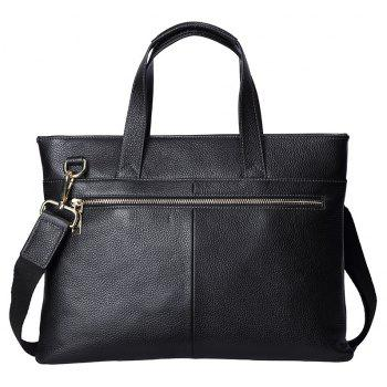 HAUT TON Genuine Leather Briefcase Business Laptop Bag Shoulder Messenger Bags Fashion Men's Handbag - BLACK