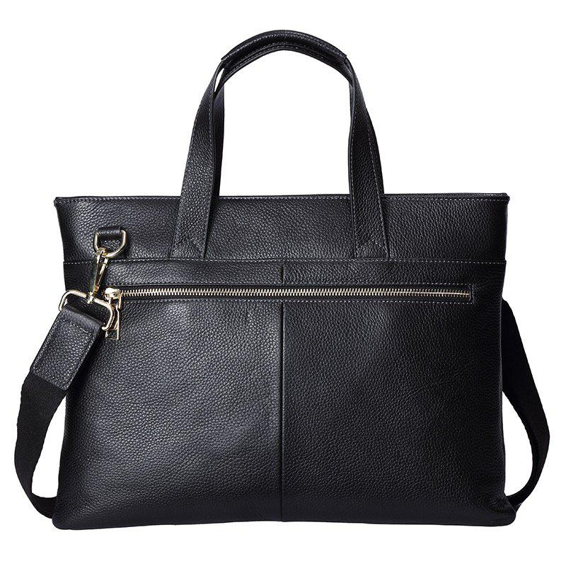 HAUT TON Genuine Leather Briefcase Business Laptop Bag Shoulder Messenger Bags Fashion Men's Handbag - BLACK 38X9.5CMX28.5CM