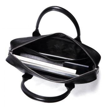 HAUT TON Real Leather Messenger Bag for Laptop Briefcase Satchel - BLACK 38X8X28CM