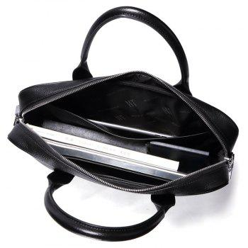 HAUT TON Real Leather Messenger Bag for Laptop Briefcase Satchel - BLACK