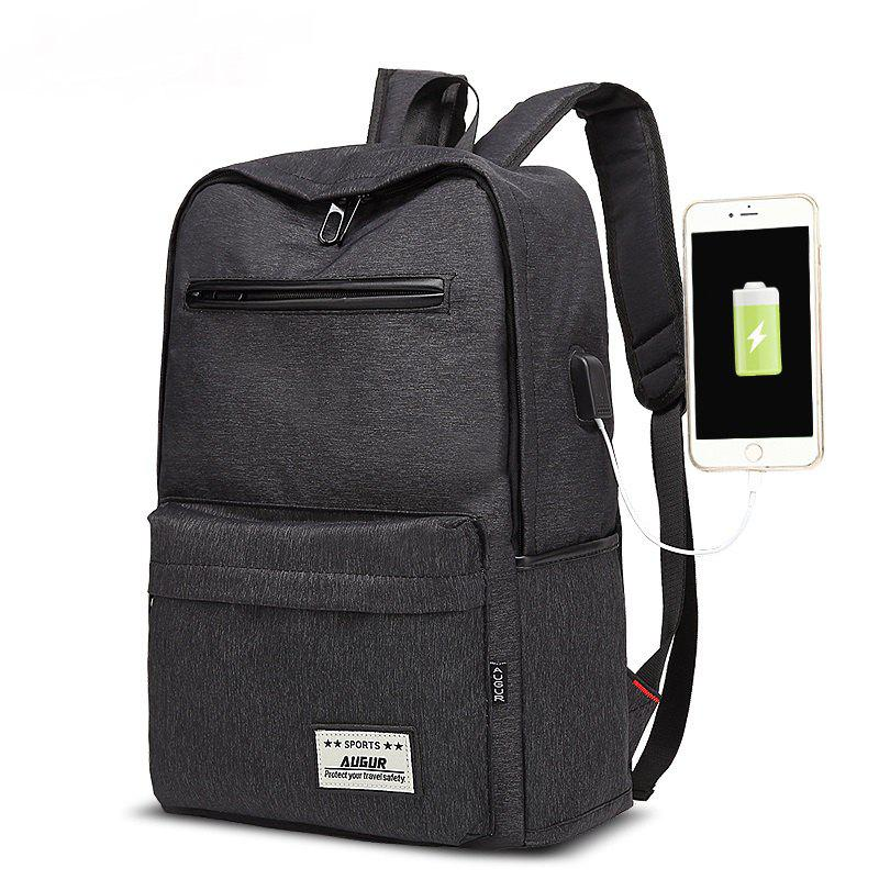 AUGUR Design Backpacks Multifunction USB Charging Men  Casual Travel Teenager Student School Bags - BLACK