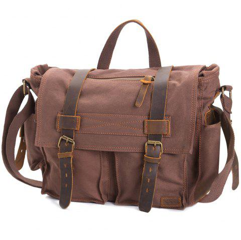 AUGUR Fashion Men HandBag Vintage Canvas Male Travel Shoulder Crossbody Vintage Military Bag - COFFEE