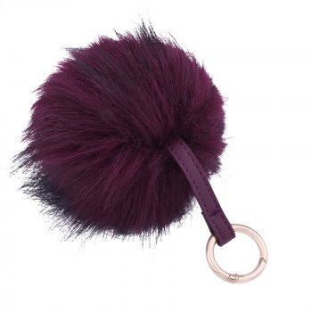 Creative Hair Ball Multi-color Key Ring Girls Package Pendant - BURGUNDY