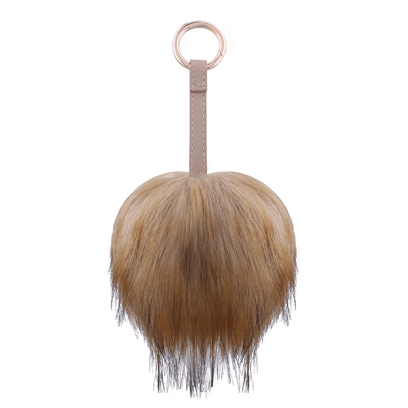Creative Hair Ball Multi-color Key Ring Girls Package Pendant - LIGHT BROWN