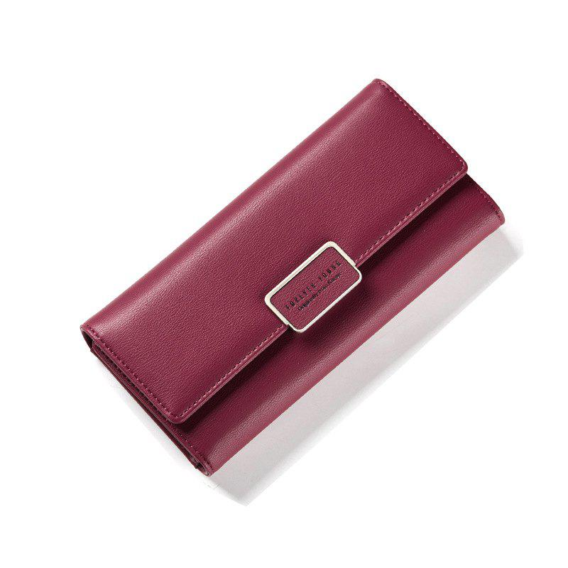 Fashion Women Wallet Clutch Purse Female Long Leather Ladies Holder Money Bag - WINE RED
