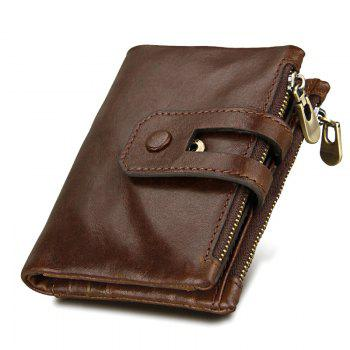 Short Genuine Leather Cowhide Men Wallet Business Card Coin Money Male Purse Card Holder - COFFEE COFFEE
