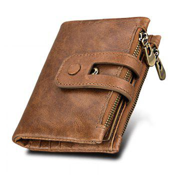 Short Genuine Leather Cowhide Men Wallet Business Card Coin Money Male Purse Card Holder - BROWN BROWN