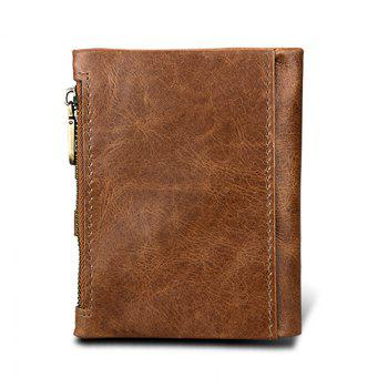 Short Genuine Leather Cowhide Men Wallet Business Card Coin Money Male Purse Card Holder -  BROWN