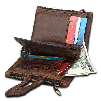 Short Genuine Leather Cowhide Men Wallet Business Card Coin Money Male Purse Card Holder - COFFEE