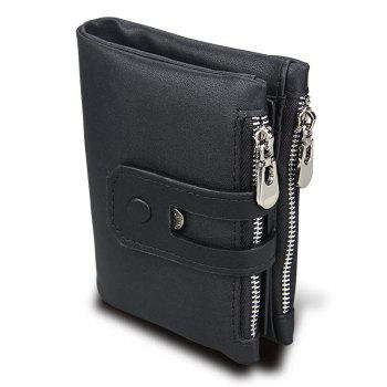 Short Genuine Leather Cowhide Men Wallet Business Card Coin Money Male Purse Card Holder - BLACK