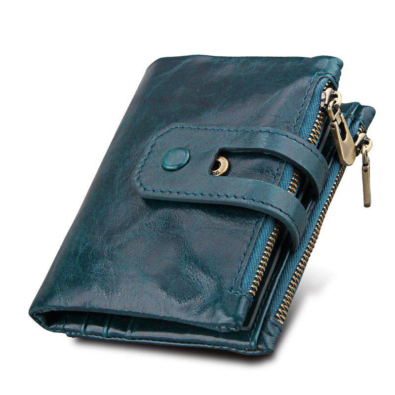 Short Genuine Leather Cowhide Men Wallet Business Card Coin Money Male Purse Card Holder - BLUE