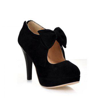 Women Bowtie Zip Wedding Party Style High Heels Female Fashion Sexy Autumn Pumps Ladies Platform Black Plus Size Shoes