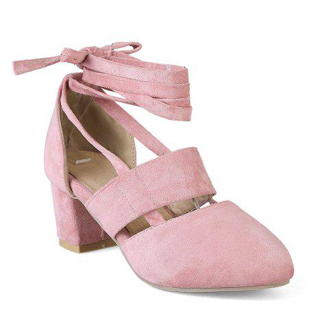 Fashion Female Ankle Strap High Heels Flock Cross Straps Chunky Heel Women'S Wedding Pumps Plus Size Ladies Shoes - PINK 42