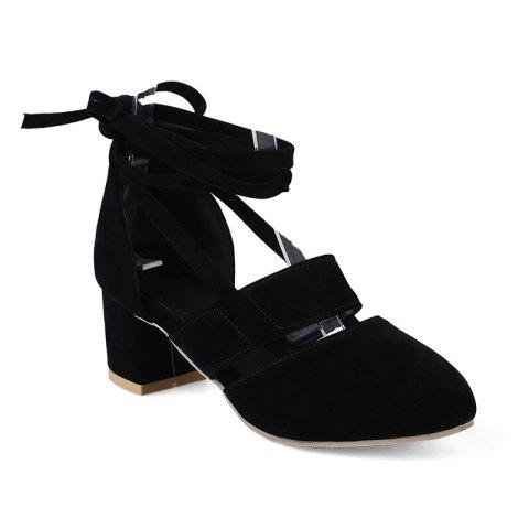 Fashion Female Ankle Strap High Heels Flock Cross Straps Chunky Heel Women'S Wedding Pumps Plus Size Ladies Shoes - BLACK 34