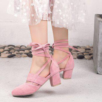 Fashion Female Ankle Strap High Heels Flock Cross Straps Chunky Heel Women'S Wedding Pumps Plus Size Ladies Shoes - PINK 37