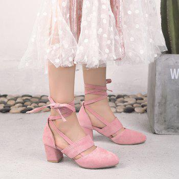 Fashion Female Ankle Strap High Heels Flock Cross Straps Chunky Heel Women'S Wedding Pumps Plus Size Ladies Shoes - PINK 35