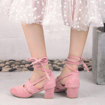 Fashion Female Ankle Strap High Heels Flock Cross Straps Chunky Heel Women'S Wedding Pumps Plus Size Ladies Shoes - PINK 34
