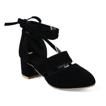 Fashion Female Ankle Strap High Heels Flock Cross Straps Chunky Heel Women'S Wedding Pumps Plus Size Ladies Shoes - BLACK BLACK