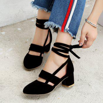 Fashion Female Ankle Strap High Heels Flock Cross Straps Chunky Heel Women'S Wedding Pumps Plus Size Ladies Shoes - BLACK 33