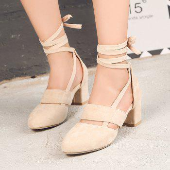 Fashion Female Ankle Strap High Heels Flock Cross Straps Chunky Heel Women'S Wedding Pumps Plus Size Ladies Shoes - BEIGE 37