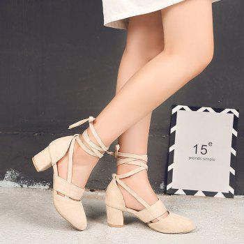 Fashion Female Ankle Strap High Heels Flock Cross Straps Chunky Heel Women'S Wedding Pumps Plus Size Ladies Shoes - BEIGE 33