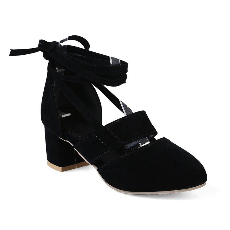 Fashion Female Ankle Strap High Heels Flock Cross Straps Chunky Heel Women'S Wedding Pumps Plus Size Ladies Shoes - BLACK 36