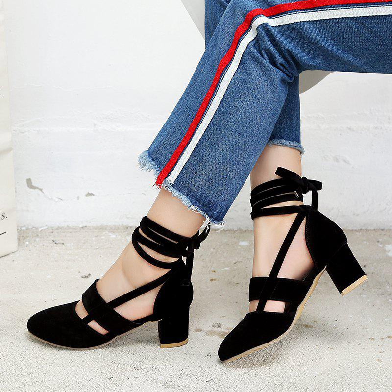 Fashion Female Ankle Strap High Heels Flock Cross Straps Chunky Heel Women'S Wedding Pumps Plus Size Ladies Shoes - BLACK 43