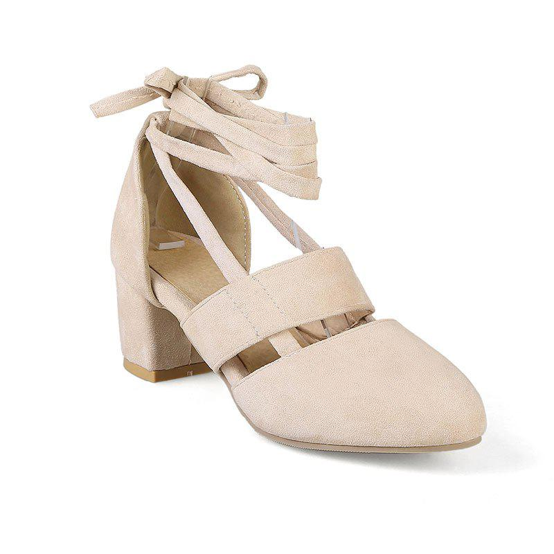 Fashion Female Ankle Strap High Heels Flock Cross Straps Chunky Heel Women'S Wedding Pumps Plus Size Ladies Shoes - BEIGE 34