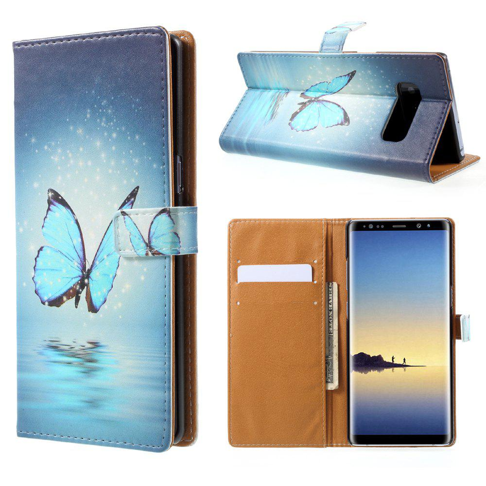 Butterfly PU Leather Wallet Stand Phone Cover for Samsung Galaxy Note8 - BLUE