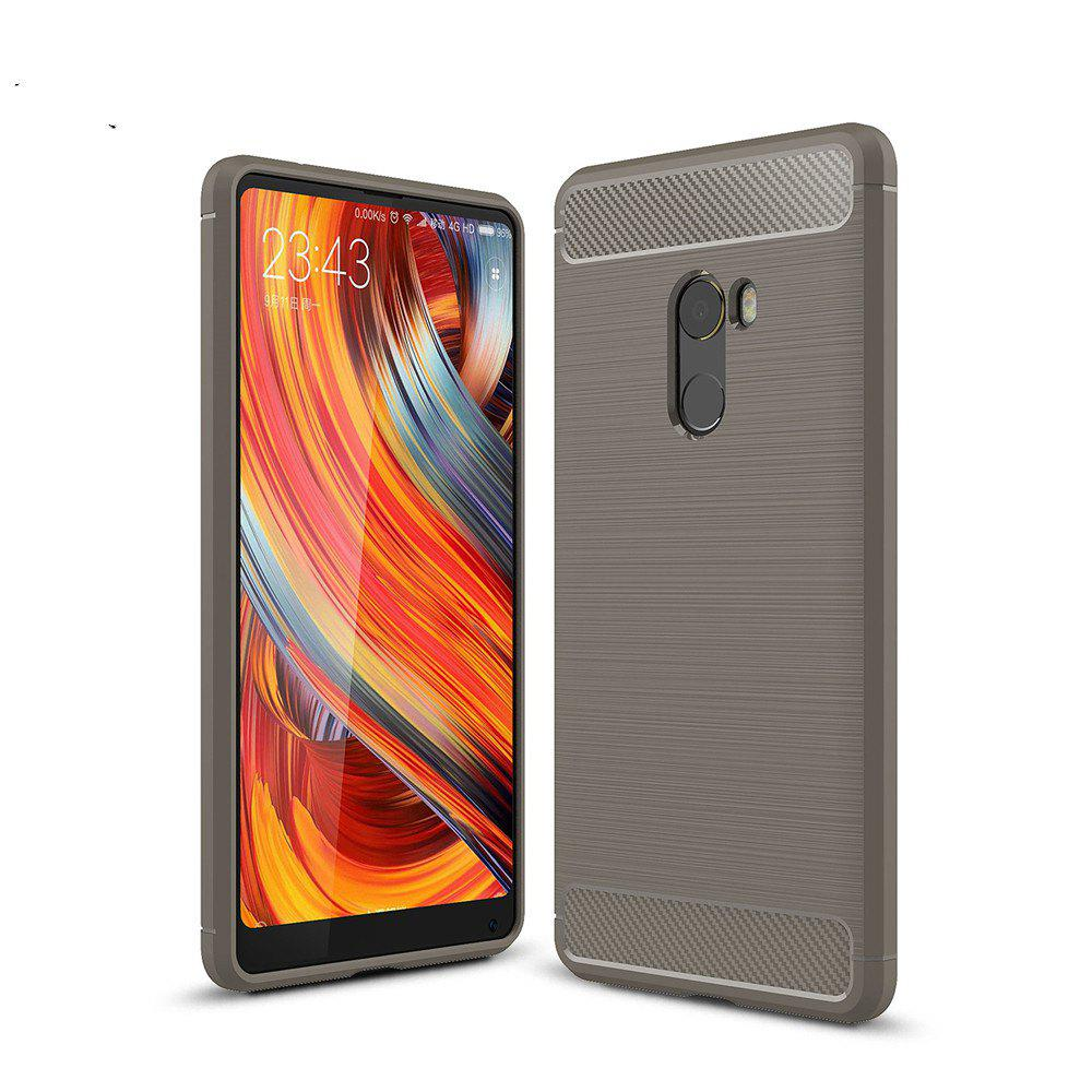Leather Business Carbon Fiber Pattern PU Soft TPU Cover Case For Xiaomi Mix 2 - BROWN