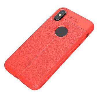 For iPhone X New Lychee Skin Pattern Full Bag TPU Phone Cover - RED